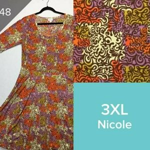 LuLaRoe Nicole Dress 3XL Purple brown cream orange